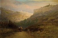 view of jerusalem with travellers on the roadside by samuel lawson booth
