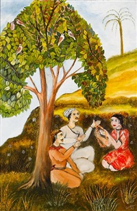 mystic with devotees beneath a tree by tassaduq sohail