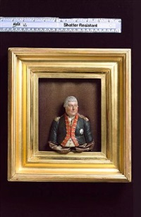 a nobleman wearing uniform, his blue coatee with red facings, gold button-holes and epaulettes, breast star of the order of the garter and powdered wig worn en queue by samuel percy