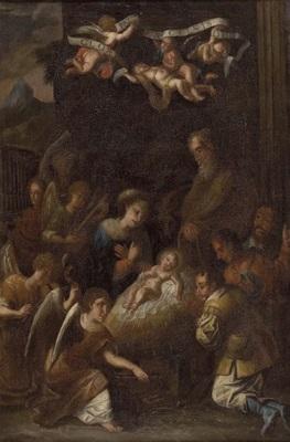 anbetung des christuskindes durch die hirten mit musizierenden engeln by austrian school tyrolean 17