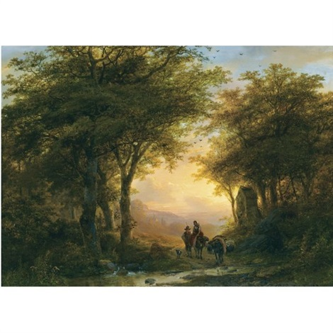 travellers near a road chapel by johann bernard klombeck