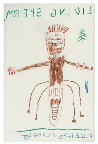 living sperm preparatory drawing color pencil 2 works by jean michel basquiat