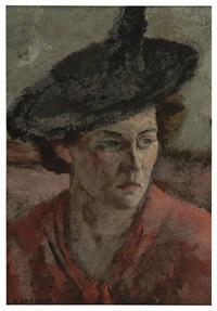 woman in a hat by samuel brecher