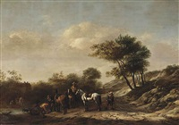a landscape with riders and travellers by a river by barend gael
