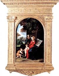 la vierge à l'enfant avec saint jean-baptiste et saint françois d'assise dans un paysage by battista (de luteri) dossi