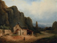 wanderer with dogs in a mountainous landscape by nicolas-victor fonville