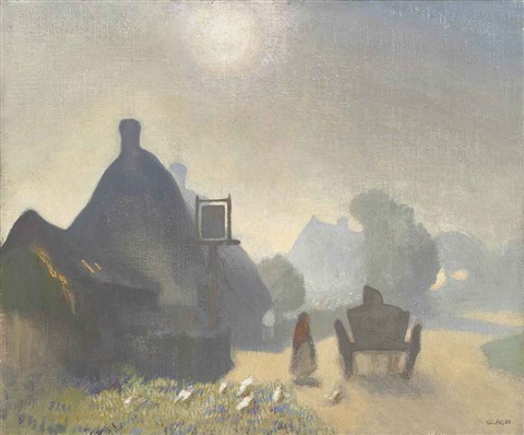 village inn misty morning by sir george clausen