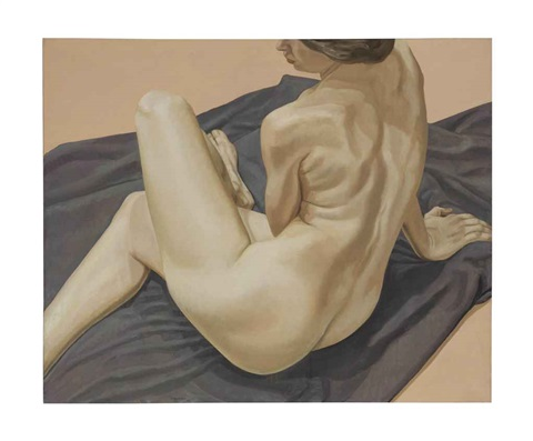 female from back with knee up by philip pearlstein