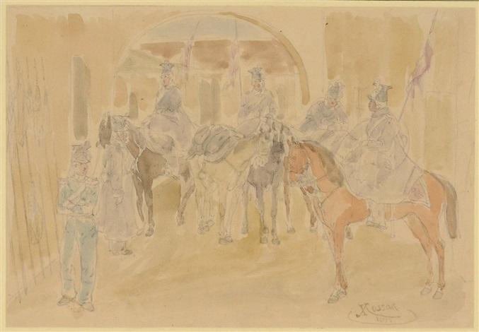 calvary soldiers mounting horses by juliusz fortunat von kossak