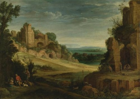 landscape with a hunting party and roman ruins by paul bril