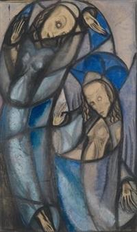 betende engel (design for stained glass) by margret bilger-breustedt