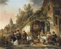 fête de village près de l'auberge by adrien ferdinand de braekeleer