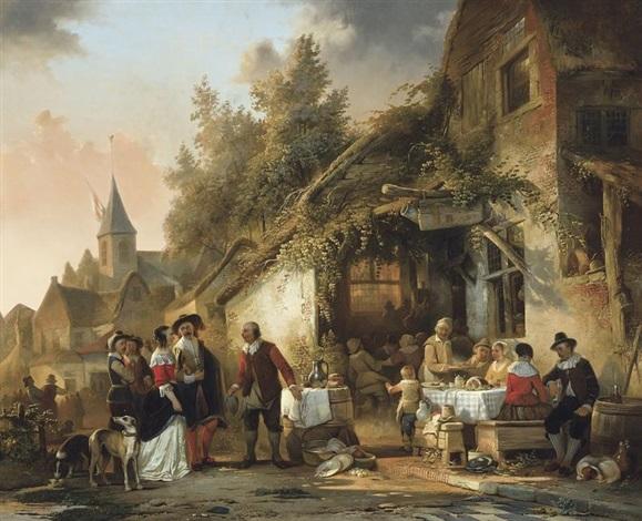 fête de village près de lauberge by adrien ferdinand de braekeleer