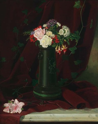 floral still life on a marble tabletop by lawrence carmichael earle