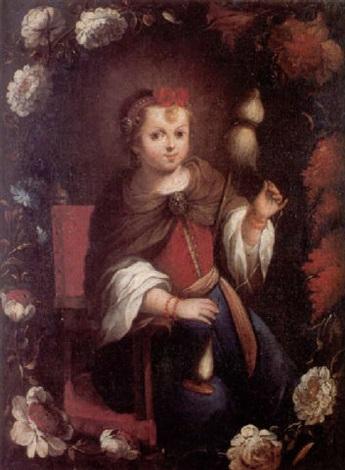 la virgen niña hilando en orla de flores by matías arteaga y alfaro