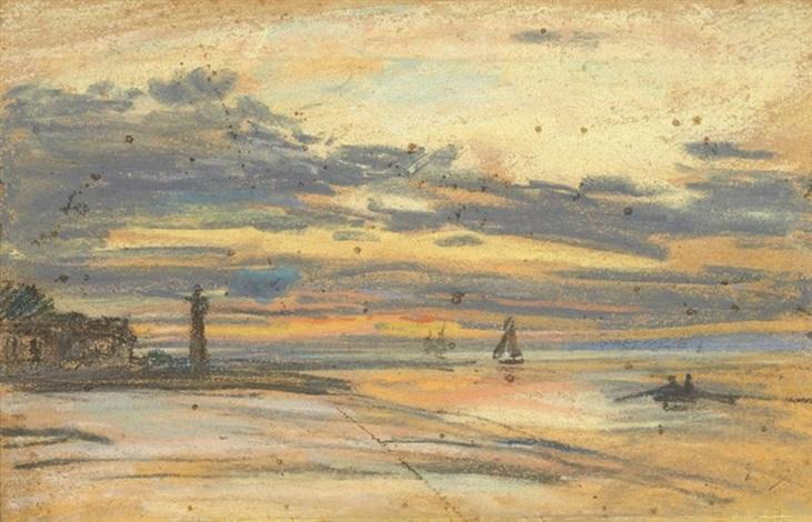 honfleur barque et voiliers à marée basse by eugène boudin