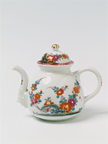 a meissen porcelain teapot and cover decorated in the imari style