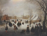 a winter landscape with elegant figures skating and playing kolf on a frozen river, a town beyond by adam van breen