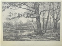 vues de la forêt de fontainebleau (portfolio of 11 w/title) by auguste allongé
