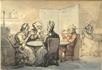 a game of whist by thomas rowlandson
