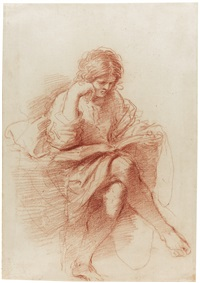 a seated youth reading, his head resting on his right hand (study for the prophet zechariah) by guercino