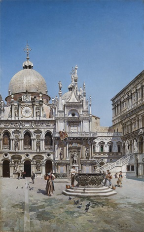 innenhof des palazzo ducale in venedig by federico del campo