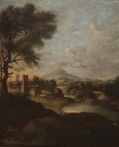 landscape with figures in the foreground and village beyond by gaspard dughet