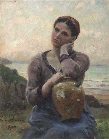 jeune paysanne à la cruche sur fond de mer by jules breton