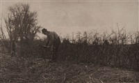 fencing in suffolk, plate xxiv (from pictures of east anglian life) by peter henry emerson