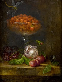 a glass dish of wild strawberries with a rose, loganberries and cherries on a marble top by catharina treu