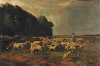 a shepherd returning his flock on the chailly plain by charles ferdinand ceramano