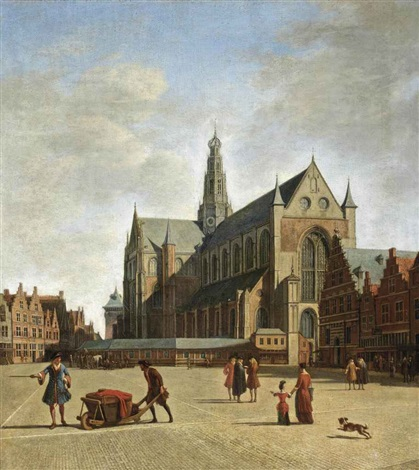 haarlem looking south east with saint bavos church by gerrit adriaensz berckheyde