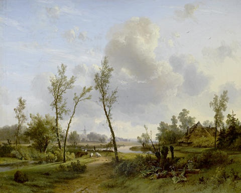 an extensive landscape with shepherd and sheep beside a winding river by pieter lodewijk francisco kluyver