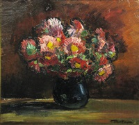 floers in blue vase by paul verona
