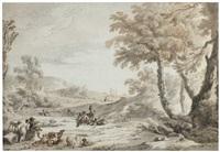 paysage animé avec des musiciens, des bergers et des pêcheurs by antonio zucchi