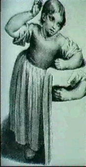 figure of a young girl with a study of her left  arm & bust portrait of a young boy & two children... by william babcock
