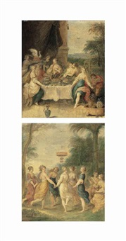 the feast of the gods (+ the muses dancing in a wooded landscape; pair) by frans francken the younger