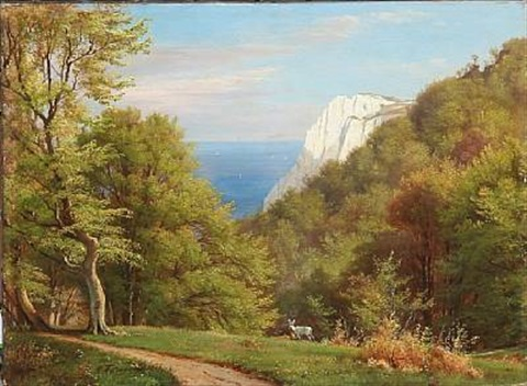 summer day at møens klint denmark by carl frederik peder aagaard
