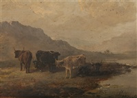 cattle in a highland landscape by edward robert smythe
