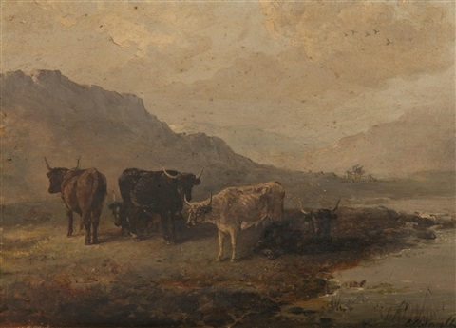 cattle in a highland landscape by edward robert smythe