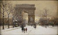 l'arc de triomphe sous la neige by eugène galien-laloue