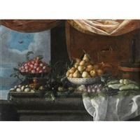 nature morte au plat de prunes, poires, bouteille et rafraîchissoir sur un entablement by pedro de camprobin