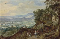 an extensive landscape with travellers near a mountain village by philips de momper the elder