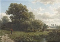 a traveller in a wooded summer landscape by adrianus van everdingen