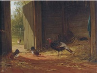 turkey with chickens in the stable by marinus adrianus koekkoek the younger