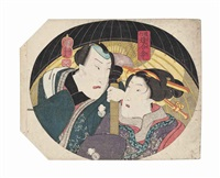 young couples sheltering under an umbrella, both from the series michiyuki ai ai gasa (travelling under the umbrella of love) (pair mounted back to back) by utagawa kuniyoshi