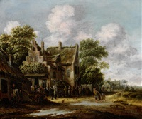 figures gathered outside a village; and figures gathered outside a church, a landscape in the distance (pair) by thomas heeremans