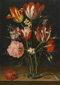 still life of tulips, carnations, a rose and other flowers in a glass beaker resting on a wooden ledge<br /><br /> by jacob van hulsdonck