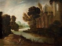 paysage de rivière avec le fils prodigue chassé par les femmes de mauvaises vies by jacob symonsz pynas