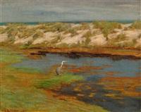 landschaft mit reiher by vilhelm theodor fischer